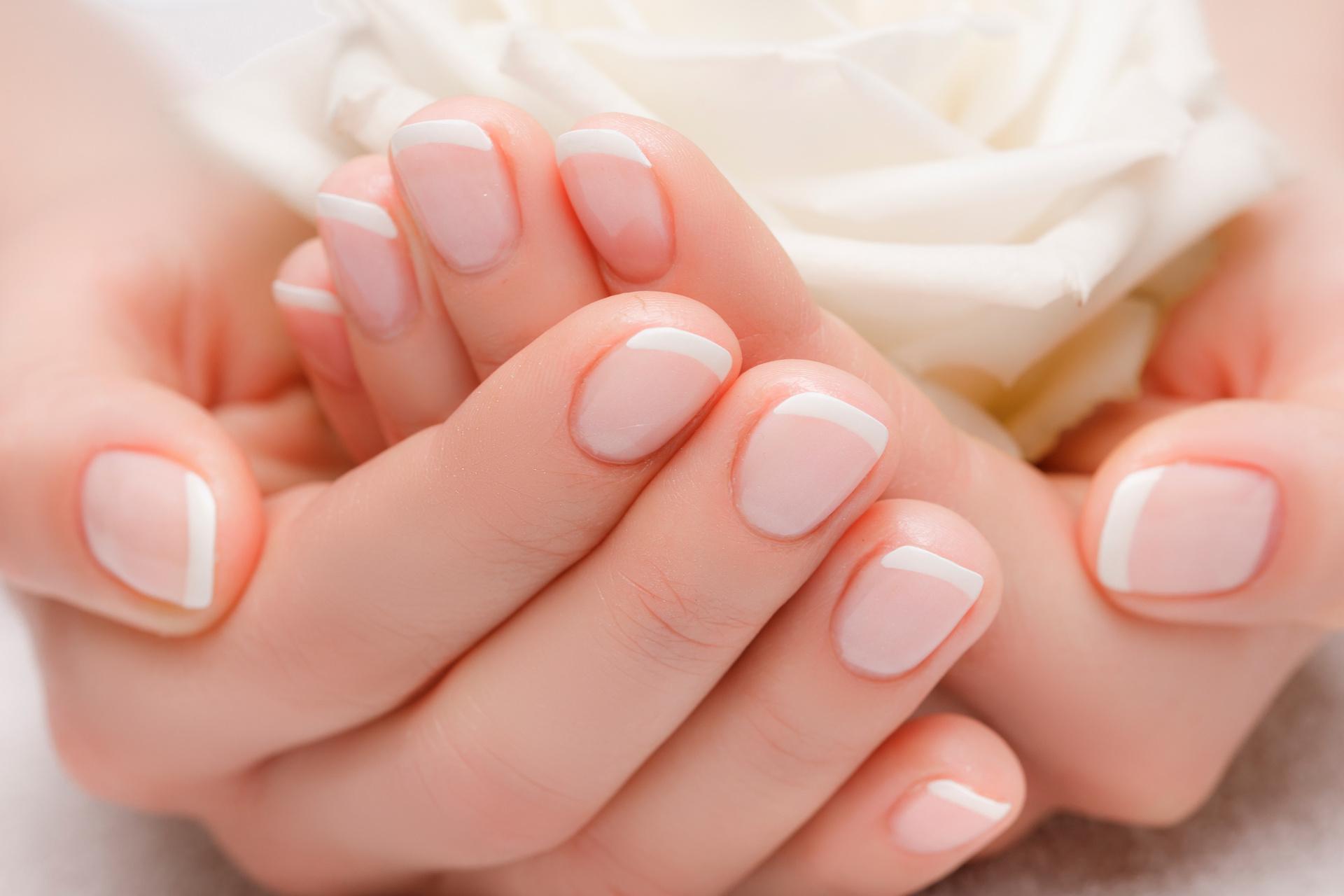 Piękne dłonie z manicure francuski